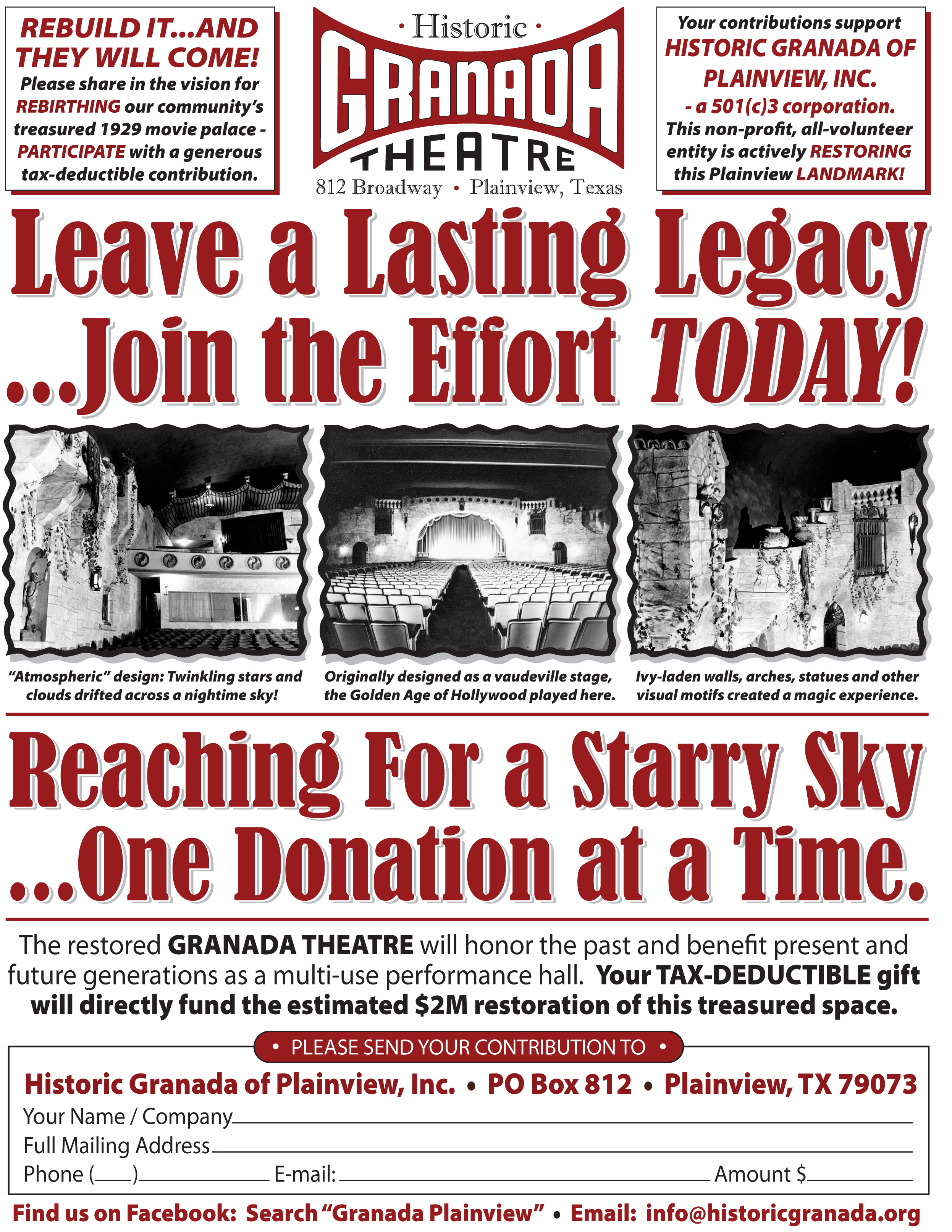 Historic Granada Theater Starry Sky Fundraising
